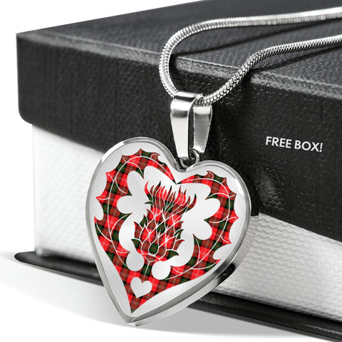 Image of Newlands of Lauriston Tartan Luxury Necklace Heart Shape Thistle