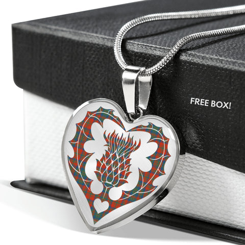 Image of Maxwell Hunting Tartan Luxury Necklace Heart Shape Thistle