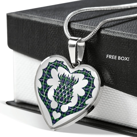 Farquharson Modern Tartan Luxury Necklace Heart Shape Thistle