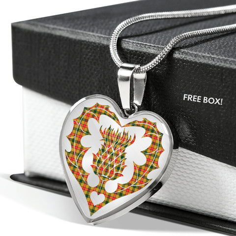 Image of Blair Modern Tartan Luxury Necklace Heart Shape Thistle