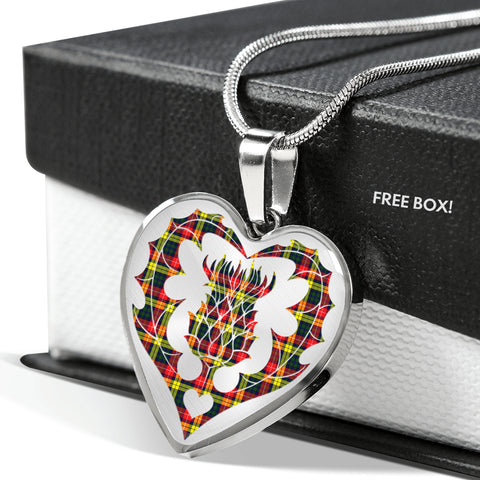 Image of Cameron Modern Tartan Luxury Necklace Heart Shape Thistle