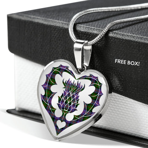 Borthwick Ancient Tartan Luxury Necklace Heart Shape Thistle