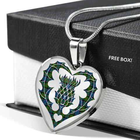 Image of Nicolson Ancient Tartan Luxury Necklace Heart Shape Thistle