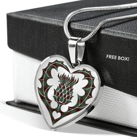Image of Buchanan Hunting Tartan Luxury Necklace Heart Shape Thistle