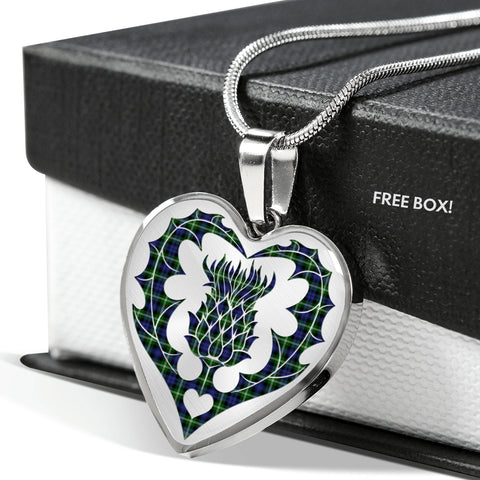 Balfour Blue Tartan Luxury Necklace Heart Shape Thistle