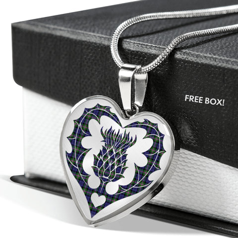 Image of Balfour Modern Tartan Luxury Necklace Heart Shape Thistle