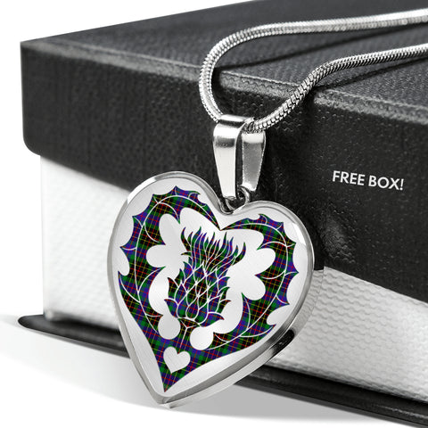Image of Buchan Ancient Tartan Luxury Necklace Heart Shape Thistle