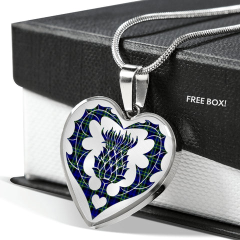 Armstrong Modern Tartan Luxury Necklace Heart Shape Thistle