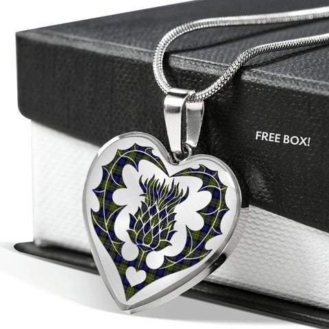 MacLaine of Loch Buie Tartan Luxury Necklace Heart Shape Thistle