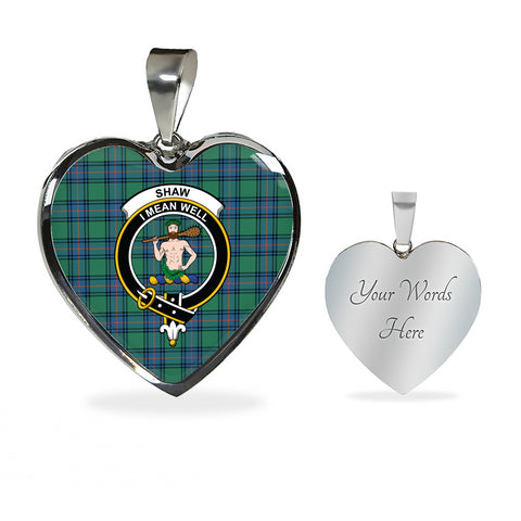 Image of Shaw of Sauchie Tartan Crest Heart Necklace HJ4 (Backside Engraved is not available now)