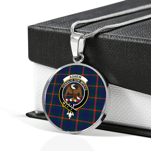 Agnew Modern Tartan Crest Circle Necklace