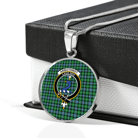 Arbuthnott Tartan Crest Circle Necklace