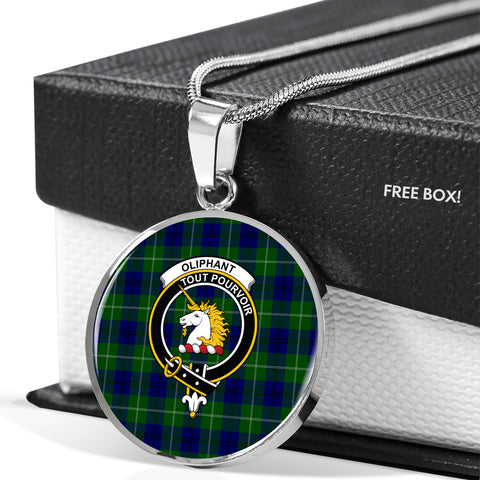 Image of Oliphant Modern Tartan Crest Circle Necklace