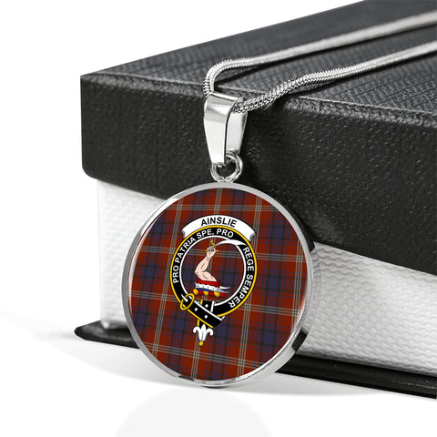 Ainslie Tartan Crest Circle Necklace