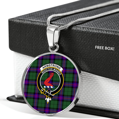 Armstrong Modern Tartan Crest Circle Necklace