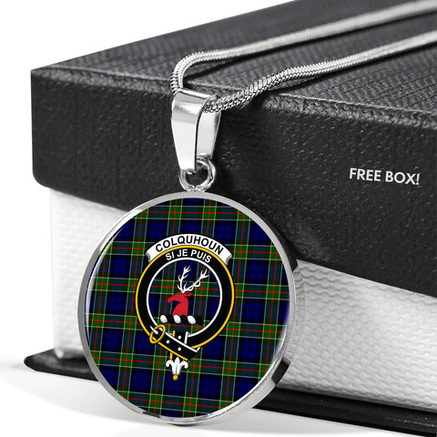 Colquhoun Modern Tartan Crest Circle Necklace