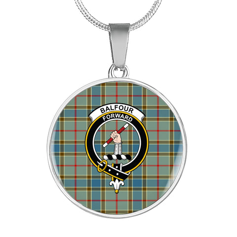 Balfour Blue Tartan Crest Circle Necklace