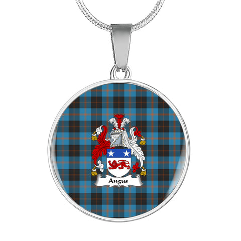 Angus Ancient Tartan Crest Circle Necklace