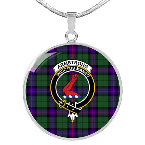 Armstrong Modern Tartan Crest Circle Necklace HJ4