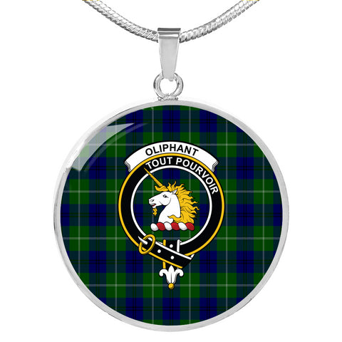 Image of Oliphant Modern Tartan Crest Circle Necklace HJ4