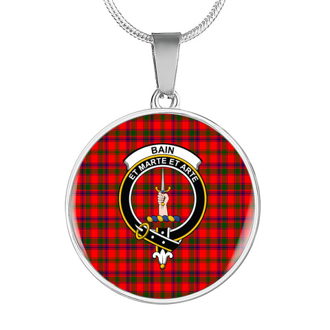 Bain Tartan Crest Circle Necklace