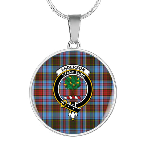 Anderson Modern Tartan Crest Circle Necklace