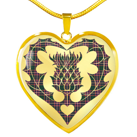 Image of MacFarlane Hunting Modern Tartan Necklace Thistle Heart Shape TH8