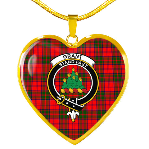 Grant Modern Tartan Crest Heart Necklace HJ4 (Backside Engraved is not available now)