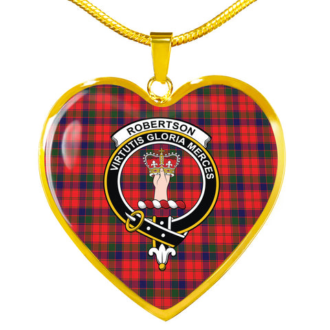 Robertson Modern Tartan Crest Heart Necklace HJ4 (Backside Engraved is not available now)