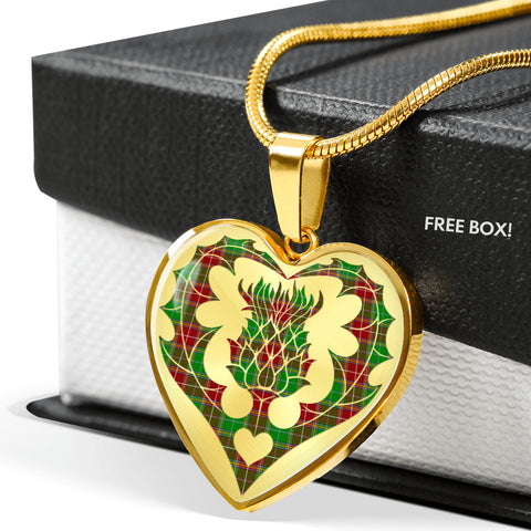 Image of Baxter Modern Tartan Luxury Necklace Heart Shape Thistle