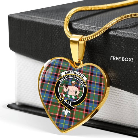 Image of Aikenhead Tartan Crest Heart Necklace