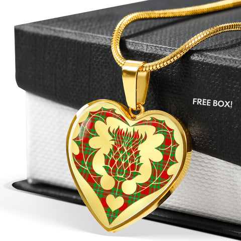 MacGregor Modern Tartan Luxury Necklace Heart Shape Thistle
