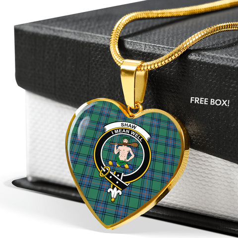 Image of Shaw of Sauchie Tartan Crest Heart Necklace