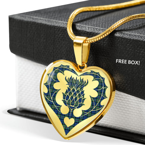 Image of Baird Ancient Tartan Luxury Necklace Heart Shape Thistle
