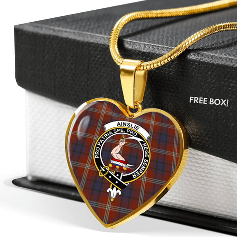 Ainslie Tartan Crest Heart Necklace