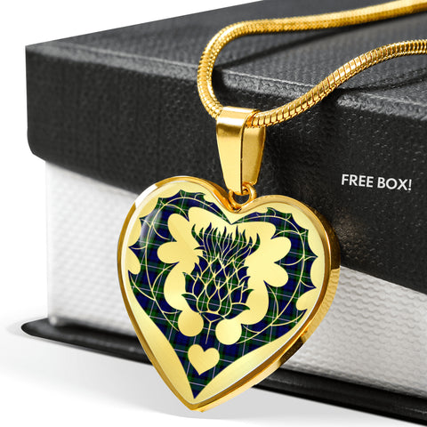 Forbes Modern Tartan Luxury Necklace Heart Shape Thistle