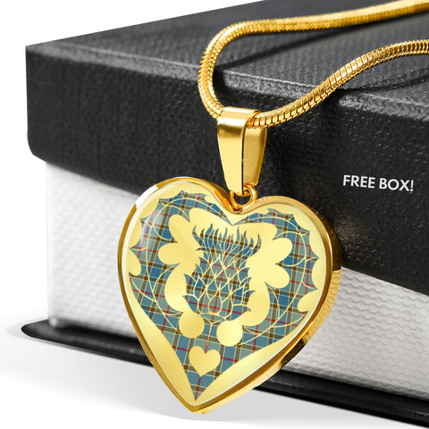 Image of Balfour Blue Tartan Luxury Necklace Heart Shape Thistle