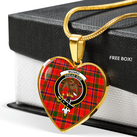 Image of Munro Modern Tartan Crest Heart Necklace
