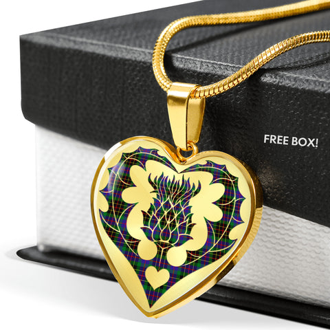 Brodie Hunting Modern Tartan Luxury Necklace Heart Shape Thistle