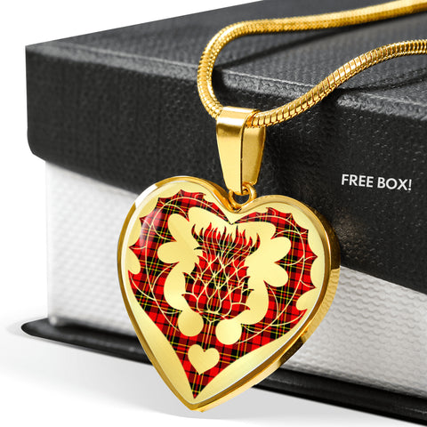 Image of Brodie Modern Tartan Luxury Necklace Heart Shape Thistle