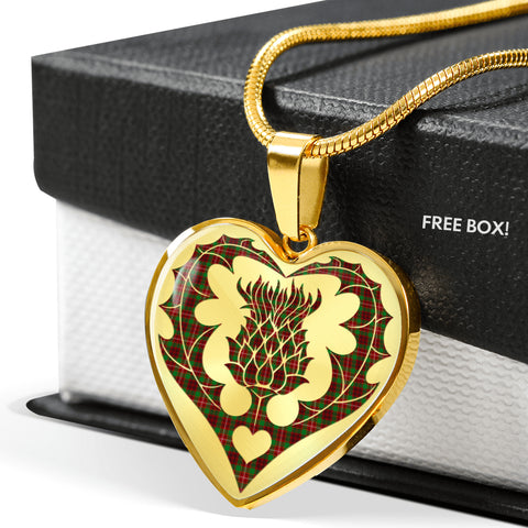 Ainslie Tartan Luxury Necklace Heart Shape Thistle