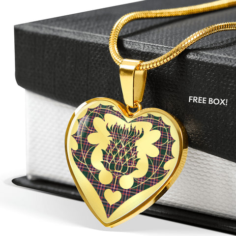 Image of MacFarlane Hunting Modern Tartan Necklace Thistle Heart Shape | Scottishclans.co