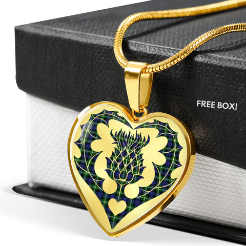 Image of Baillie Modern Tartan Luxury Necklace Heart Shape Thistle