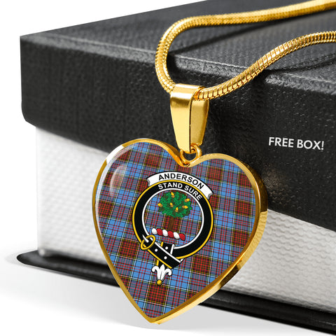 Anderson Modern Tartan Crest Heart Necklace