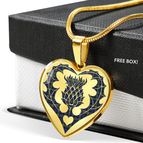Baird Modern Tartan Luxury Necklace Heart Shape Thistle