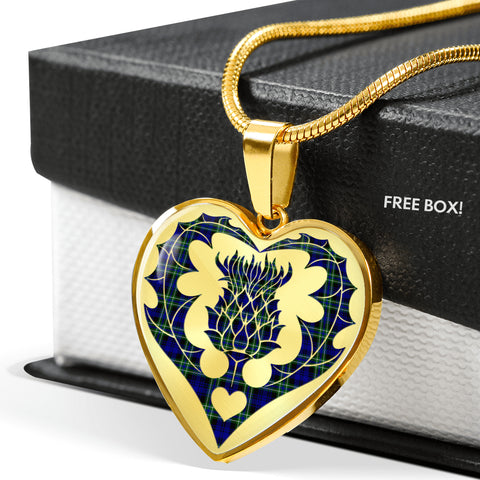 Arbuthnot Modern Tartan Luxury Necklace Heart Shape Thistle