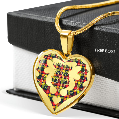 Buchanan Modern Tartan Luxury Necklace Heart Shape Thistle