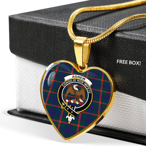 Agnew Modern  Tartan Crest Heart Necklace
