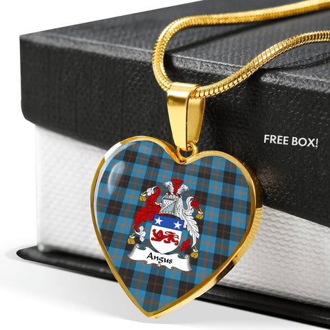 Angus Ancient Tartan Crest Heart Necklace