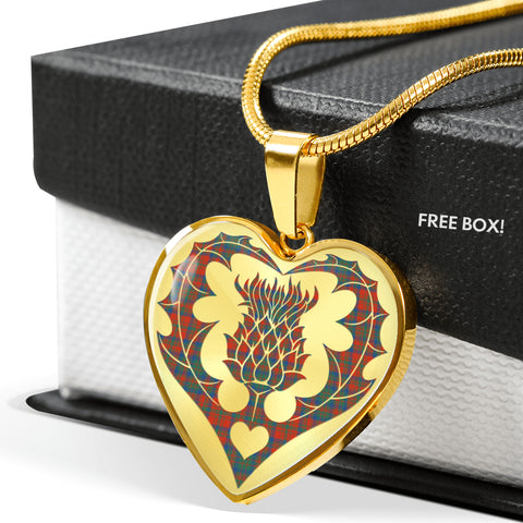 Image of Matheson Ancient Tartan Luxury Necklace Heart Shape Thistle